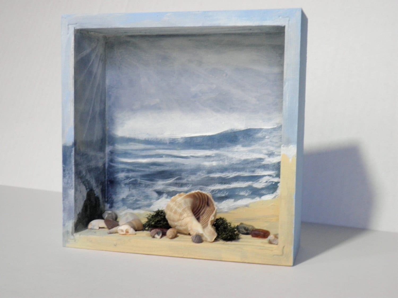 Diorama Beach Scene Ocean Blue Shadow Box