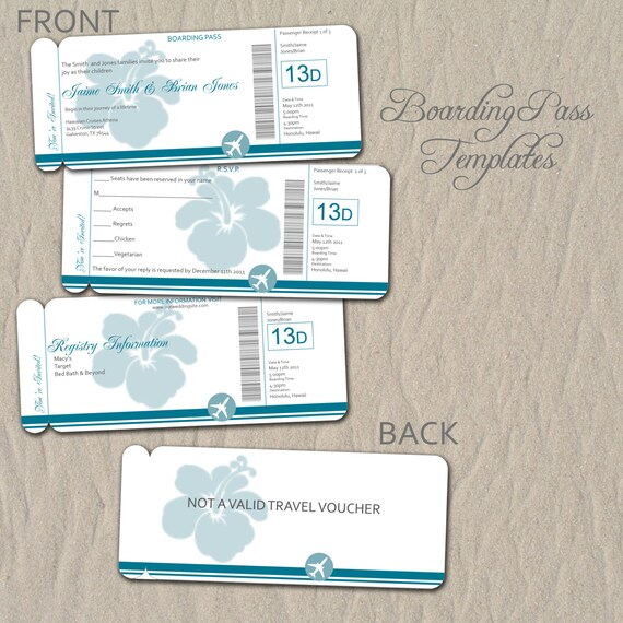 Items Similar To 0714 Boarding Pass Destination Wedding Invitation Or Save The Date Template