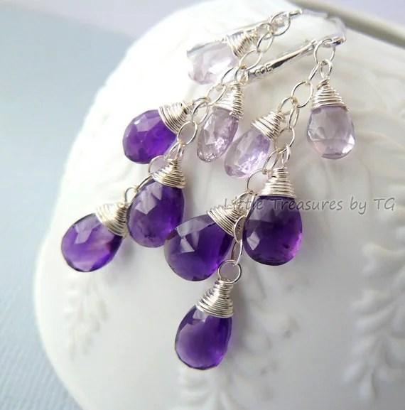 Purple and Lavender Amethyst earrings. Dangle. Birthstone earrings. Wire wrapped. Drop earrings. Ready to ship. Silver earrings. Gift ideas