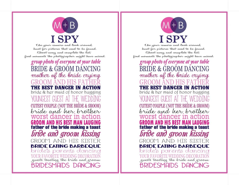 Wedding I Spy Card Fun Activity For Wedding By Kjones