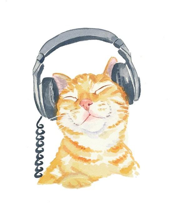 Cat Watercolour PRINT, Music Art, Headphones, Orange Tabby, Watercolor Cat, 8x10 print