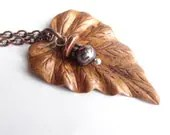 copper leaf necklace woodland jewelry long chain - EclecticBead