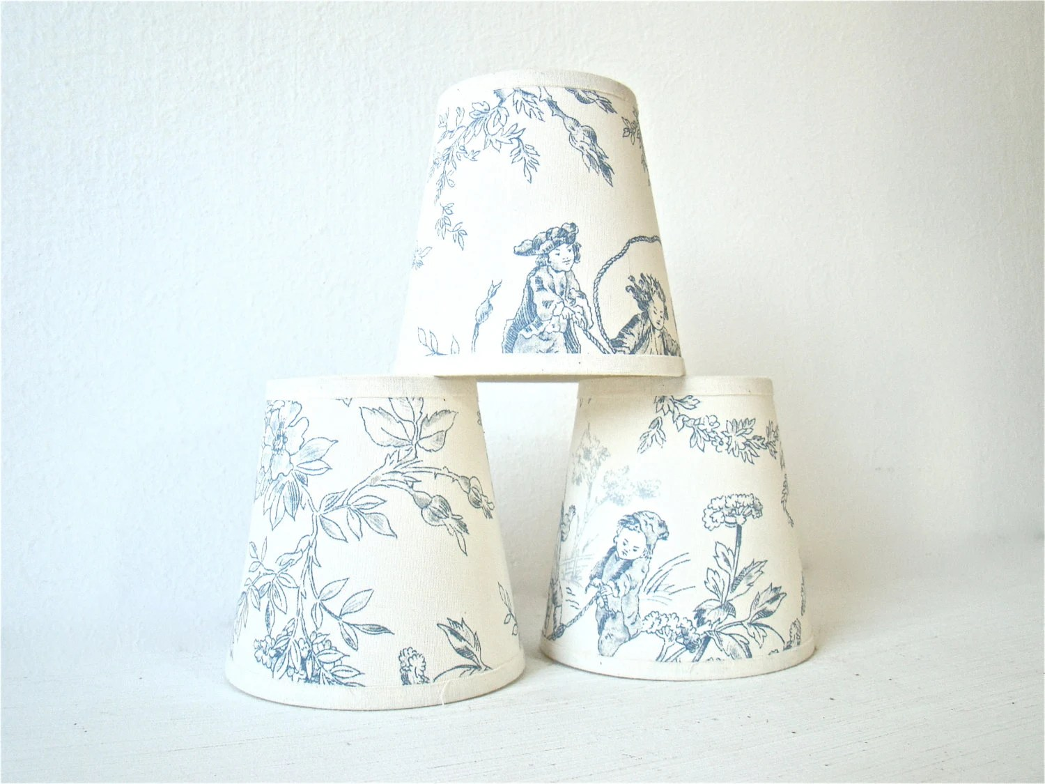Miniature Lamp Shades Vintage French Blue And White Toile