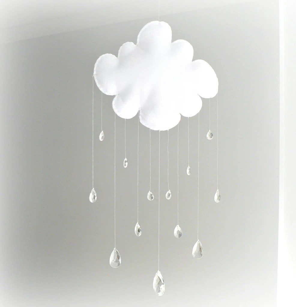 Rain Cloud mobile - baby mobile - crystal mobile - sun catcher - clear crystal rain drops - Nursery Decor - LullabyMobiles
