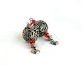 Filigree Heart Earrings, vintage, silver, red, dangle, by nancelpancel on etsy - nancelpancel