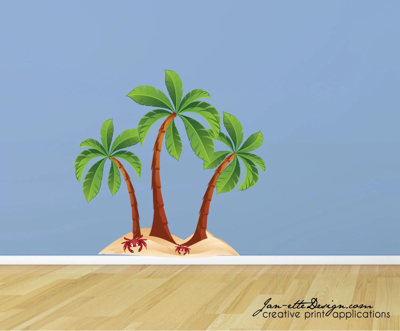 Beach Palm Trees Fabric Wall Decal Beach Wall Art Palm Tree