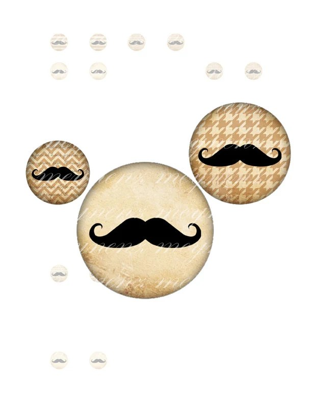 Classic Moustache - Printable 12 mm (1/2 inch) round for earrings, cufflinks, ring, magnet, pendant - Jpg File no. A068 - meynenz