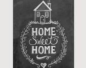 Home Sweet Home Print - Chalkboard Art - Home Sweet Home Art - 11x14 Print - Chalk Art - Housewarming - LilyandVal