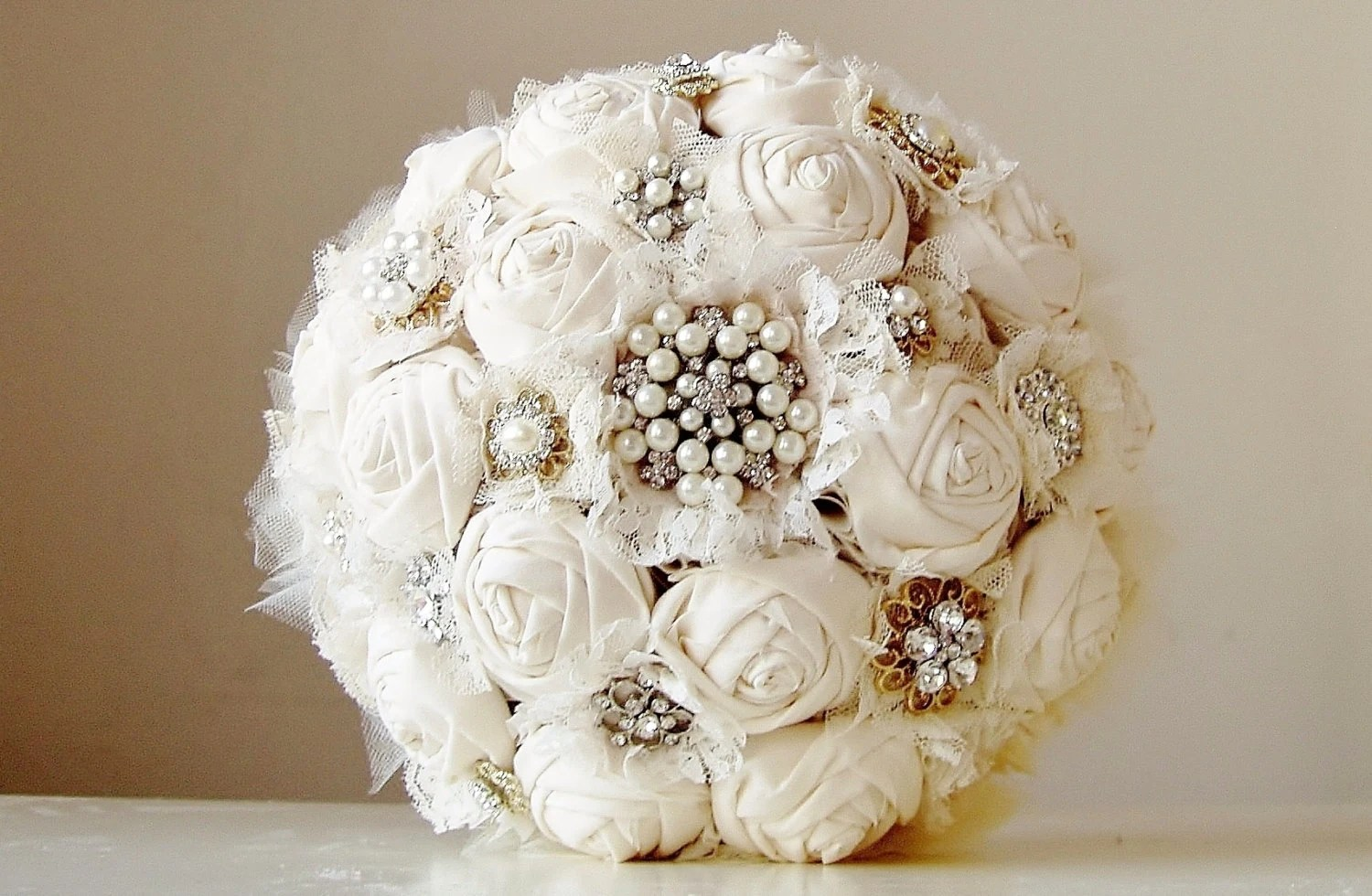Fabric Flower Bouquet Vintage Style Wedding Bouquet Handmade