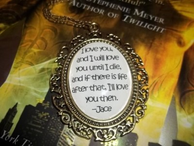 Jace and Clary City of Bones Mortal Instruments Book Quote Pendant
