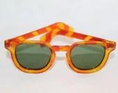Vintage  USA Made Square Sunglasses  Green Glass lenses Orange Yellow - FramedForYou