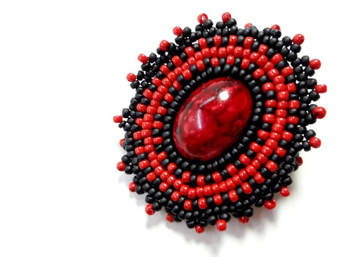 Red and Black Beaded Brooch Jewelry Pin for Hats Scarves or Jackets - MegansBeadedDesigns