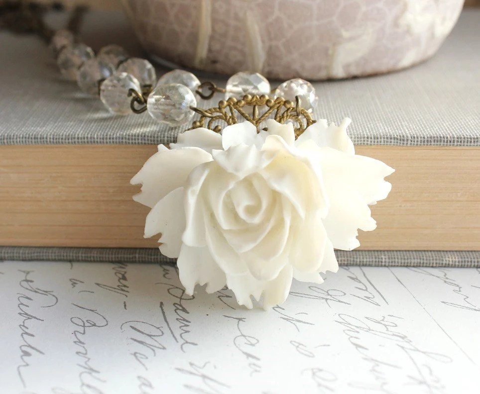 White Rose Necklace, Statement Jewelry, Vintage Style, Shabby Chic Wedding Bridal, Flower Pendant,  Resin Floral Accessories, Spring Jewelry - apocketofposies