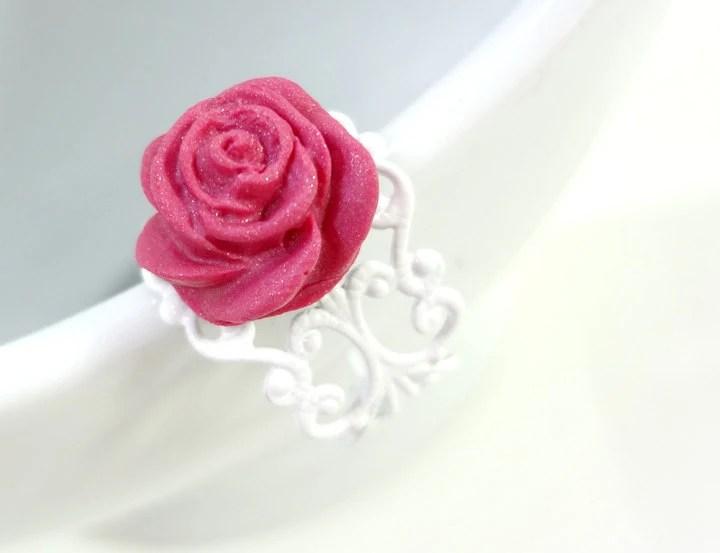 Matte Pink Rose Ring - Glamour365
