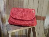 Vintage Red Raffia Clutch red Summer woven Purse 40s style 70s wicker handbag