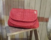 Vintage Red Raffia Clutch red Summer woven Purse 40s style 70s wicker handbag