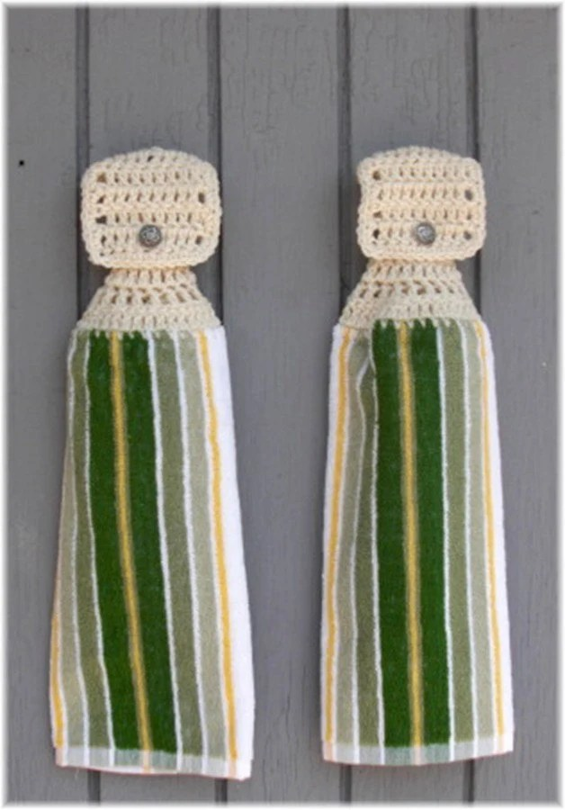Hanging Kitchen Towels Green Yellow White Stripes Item