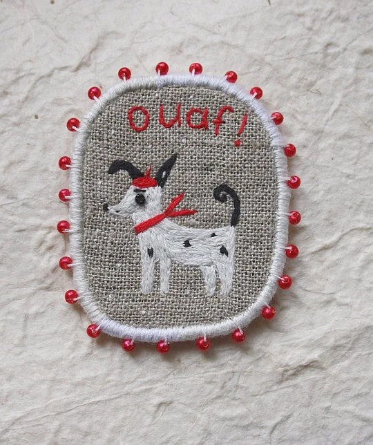 Brooch - The French Dog, Funny Dogs - collection, hand embroidered