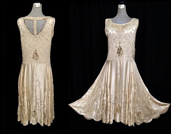 Vintage 20s Dress // 1920s Beaded Dress // 20s Flapper Dress