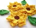 Crochet sunflowers applique - crochet flowers applique - yellow flowers embellishments - wedding decorations - cotton flower - set of 3
