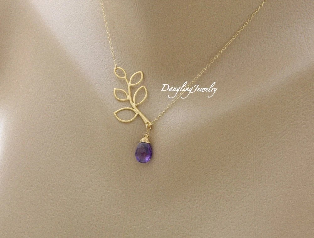 Amethyst necklace, bridesmaid necklace, handmade jewelry, february birthstone