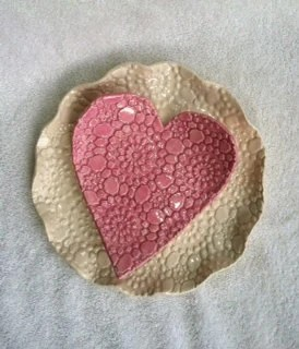 Ceramic Heart Dish - pink, lace