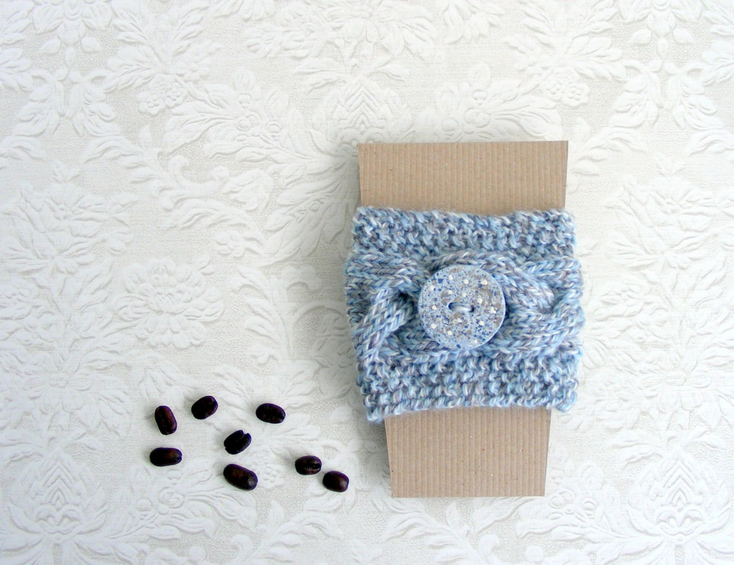 Coffee cup cozy, coffee cup sleeve, braid knit coffe cup cozy, travel mug, hostess gift - Linohandmade