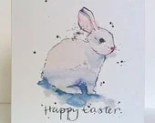 White Easter Bunny Card Card from Original Illustration
