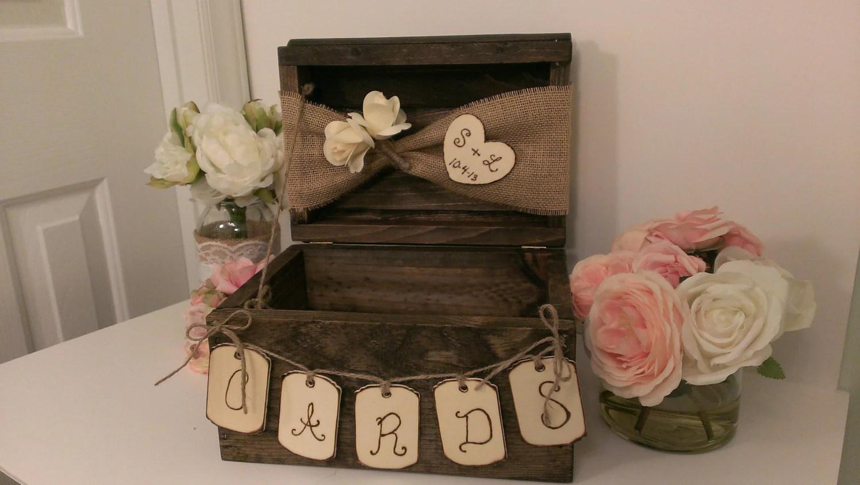 Personalized Rustic Card Box Burlap Wedding Reception Card