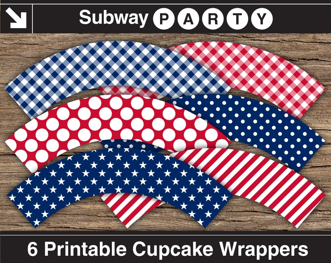 Patriotic 4th Of July Printable Cupcake Wrappers Cupcake