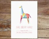 Personalized Birth Announcement - Geometric Animal Designs - Nursery Poster - WhiteWillowPaper