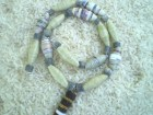 PAPER BEAD NECKLACE  greens tan coral natural heishi beads