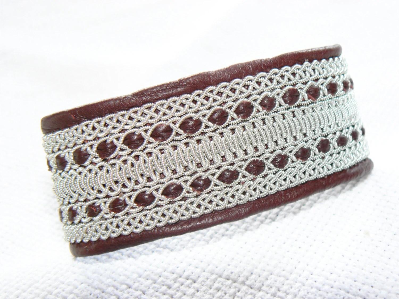 No. 1055: Sami Bracelet of pewter thread and reindeer leather - jessofsweden
