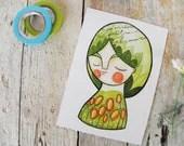 Spring postcard green flowers girl portrait - ireneagh