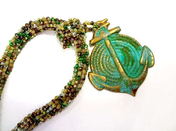 Green Anchor Beaded Earth Toned Rope Necklace with Nautical Pendant - MegansBeadedDesigns