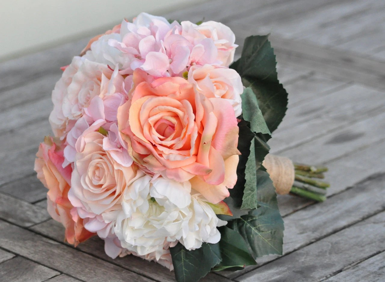 Blush Pink Hydrangea Coral Roses And Ivory Peonies Wedding