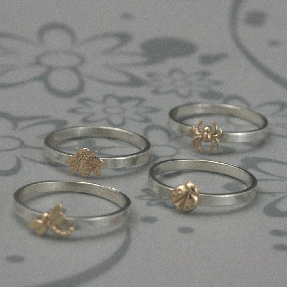 Bugga Bugga Bands--NEW for Spring--Solid 14K Yellow Gold Bug of Your Choice on a 2mm wide Sterling Silver Band in Your Size - debblazer