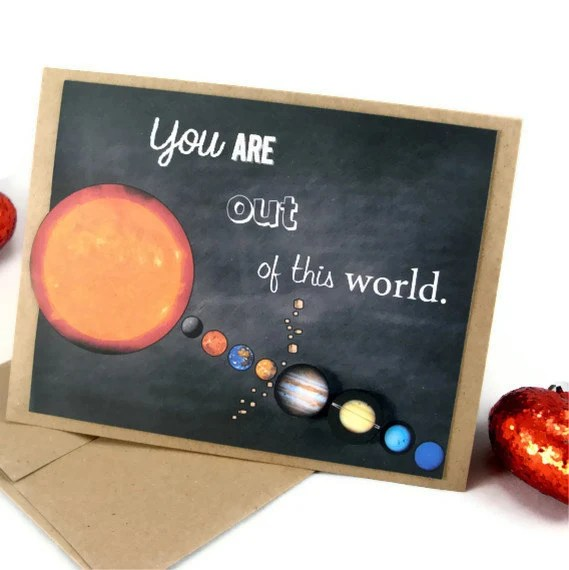 Planet Valentine's Day Science Solar System Card