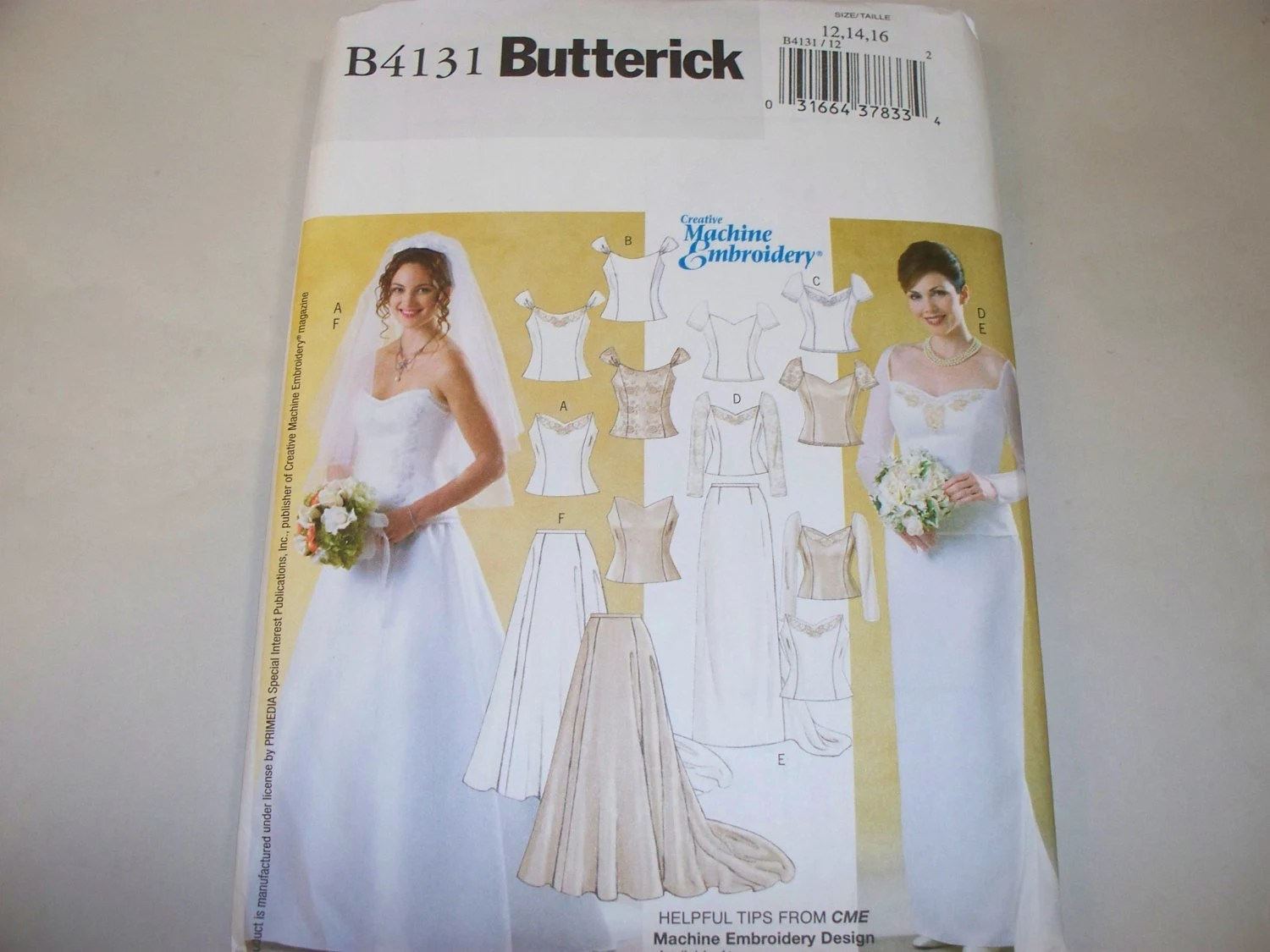 New Butterick Bridal Gown Pattern B4131 121416 Free US