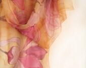 Pink Magnolia hand painted silk chiffon scarf. Spring flowers scarf. Yellow pink silk scarf. Long floral silk scarf paint by hand - klaradar