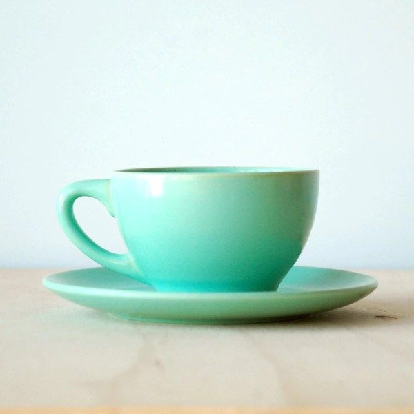 Vintage Catalina Pottery Green Cup and Saucer