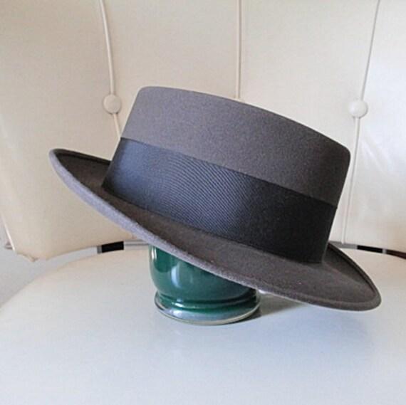 unworn vintage 60s fedora hat mans felt grey skinny brim small brim blues jazz hipster gangster