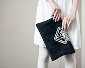 Envelope Bag Geometrical Illusion Leather Suede Dark with White No. EB-1011 - CORIUMI