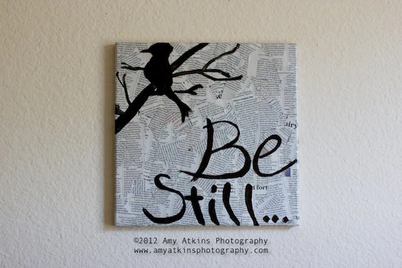 Be Still - Modern Newspaper Decoupage Art with Bird on a Branch - 12x12 Canvas