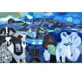 PLAYDATE (Pa's Goats), Acrylic Painting by Sandra Longman Original Art Home Decor Fine Art Diptych Wall Decor Gift - Curiopolis