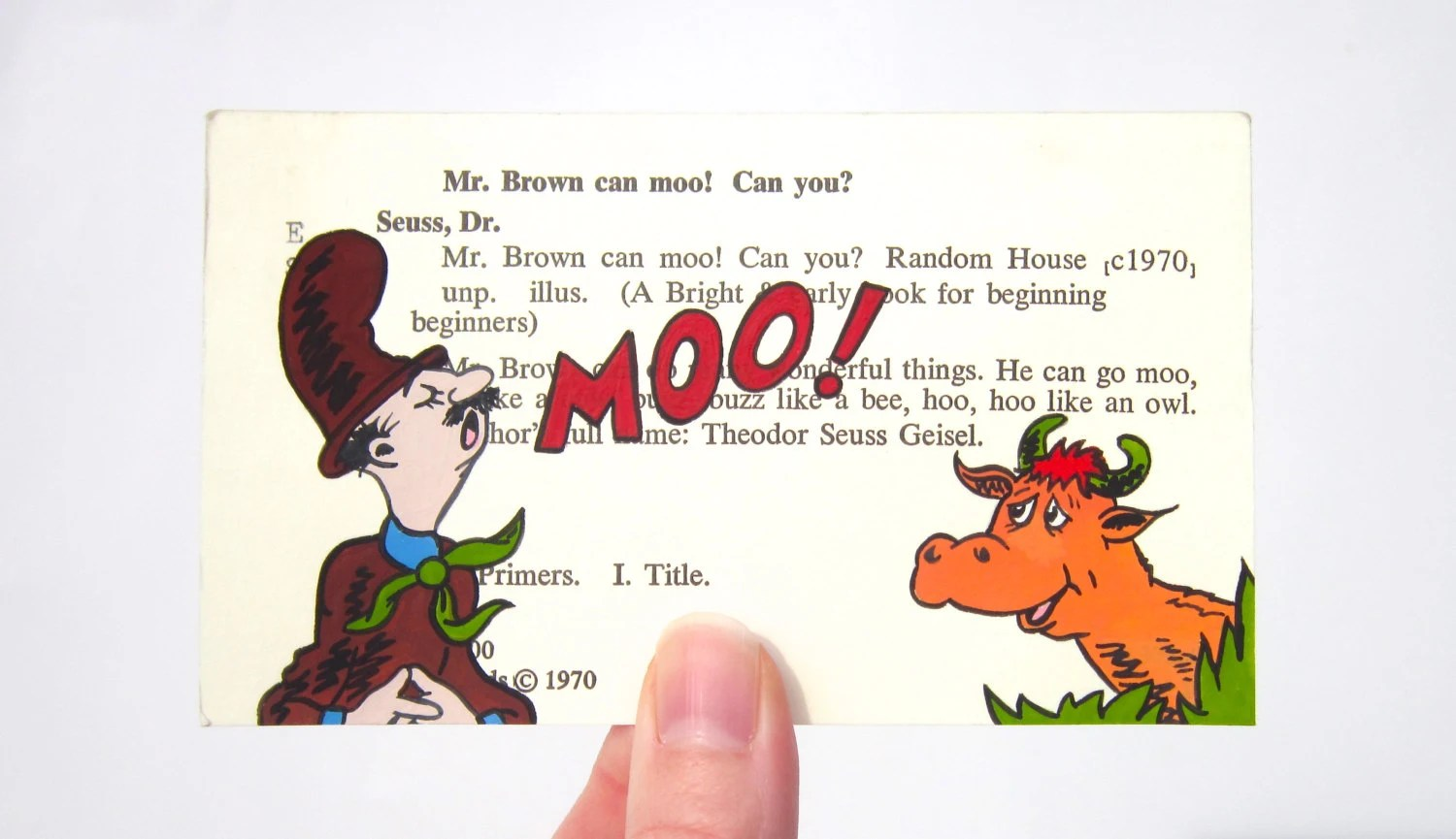 Mr Brown Can Moo Library Card Art Print Of My Painting