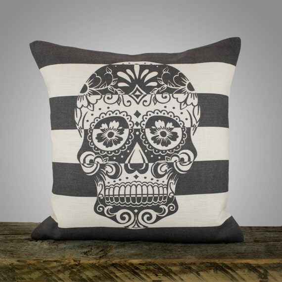 Sugar Skull Pillow Cover, Black and White Stripe Pillow, Decorative Throw Pillow, Day of the Dead, 16""