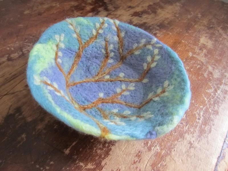 Felt Bowl Wool Fiber Art Bowl Needle Felted Pussy Willow