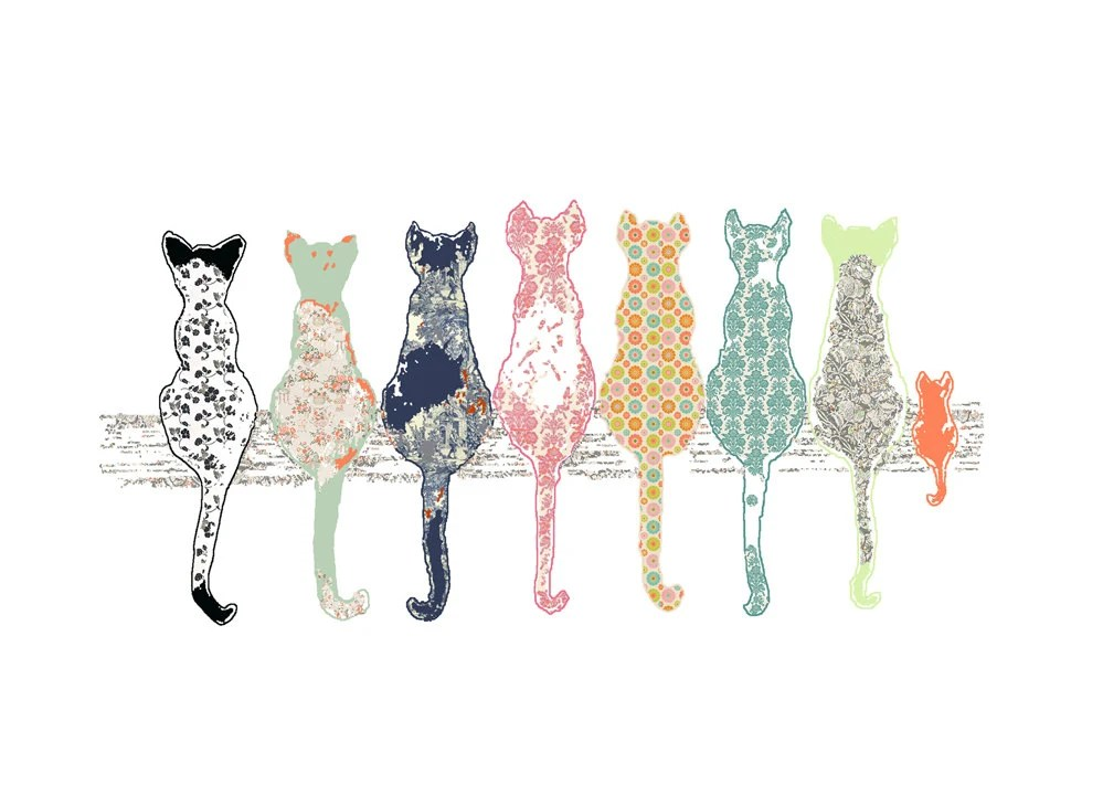 Childrens Art Cat Art Print Baby Girl Nursery By OzscapeDesigns