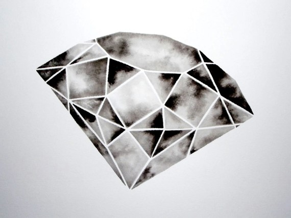 Geometric Diamond I - Original Watercolor - GeometricInk